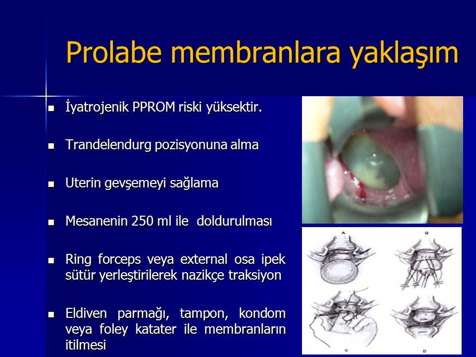 Prolabe membranlara yaklaşım İyatrojenik PPROM riski yüksektir. İyatrojenik PPROM riski yüksektir. Trandelendurg pozisyonuna alma Trandelendurg pozisy