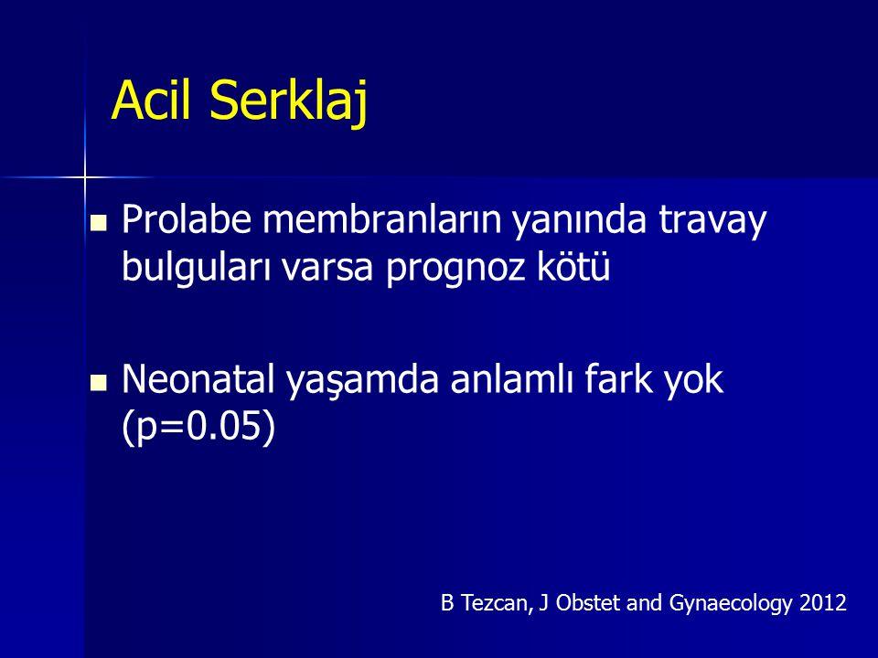 Acil Serklaj Prolabe membranların yanında travay bulguları varsa prognoz kötü Neonatal yaşamda anlamlı fark yok (p=0.05) B Tezcan, J Obstet and Gynaec