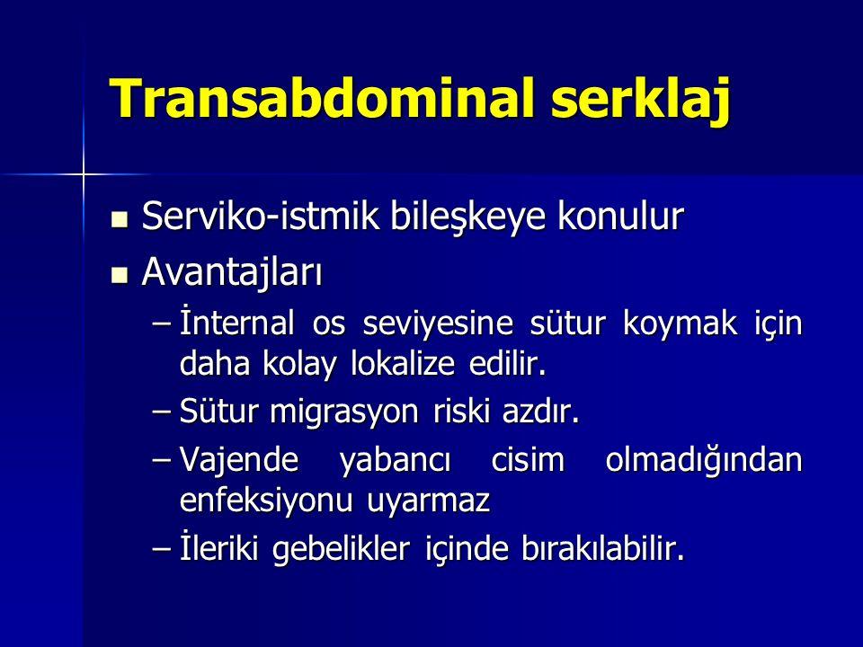 Transabdominal serklaj Serviko-istmik bileşkeye konulur Serviko-istmik bileşkeye konulur Avantajları Avantajları –İnternal os seviyesine sütur koymak