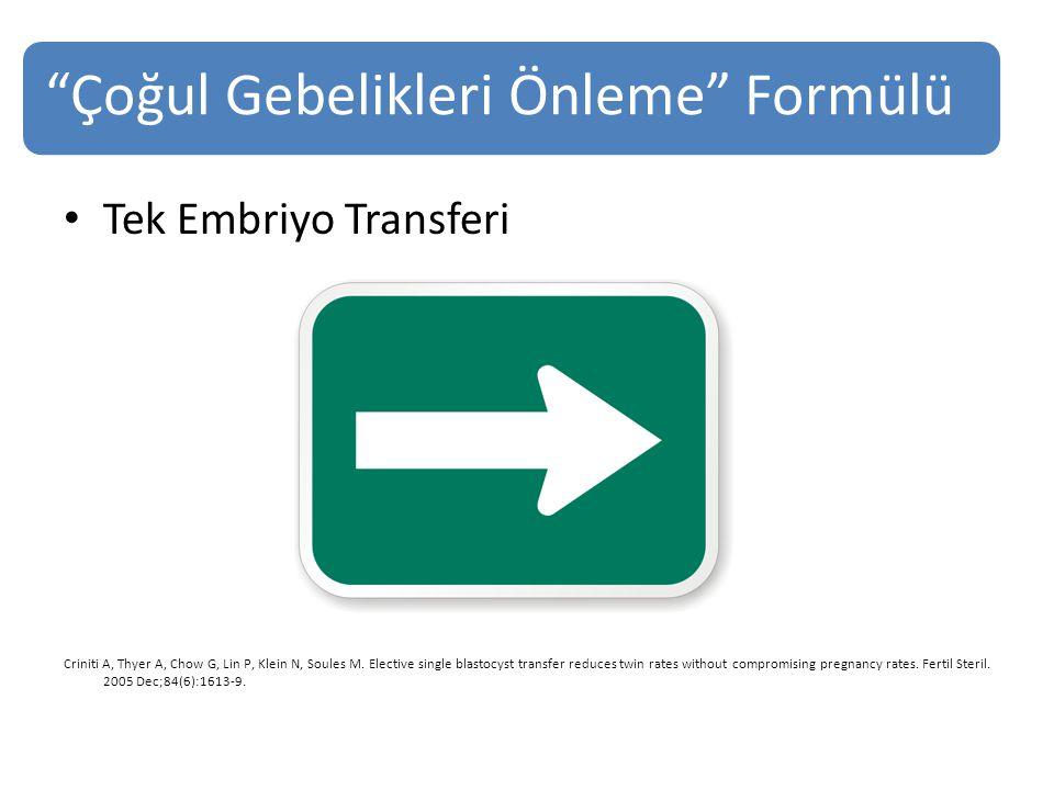 Çoğul Gebelikleri Önleme Formülü Tek Embriyo Transferi Criniti A, Thyer A, Chow G, Lin P, Klein N, Soules M.
