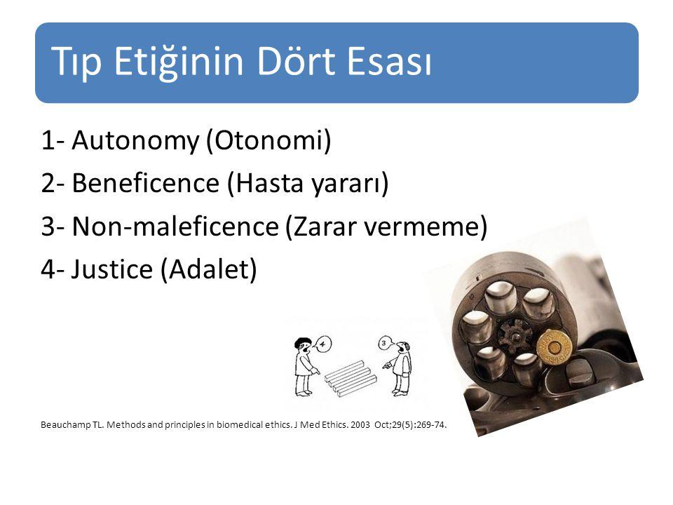Tıp Etiğinin Dört Esası 1- Autonomy (Otonomi) 2- Beneficence (Hasta yararı) 3- Non-maleficence (Zarar vermeme) 4- Justice (Adalet) Beauchamp TL.