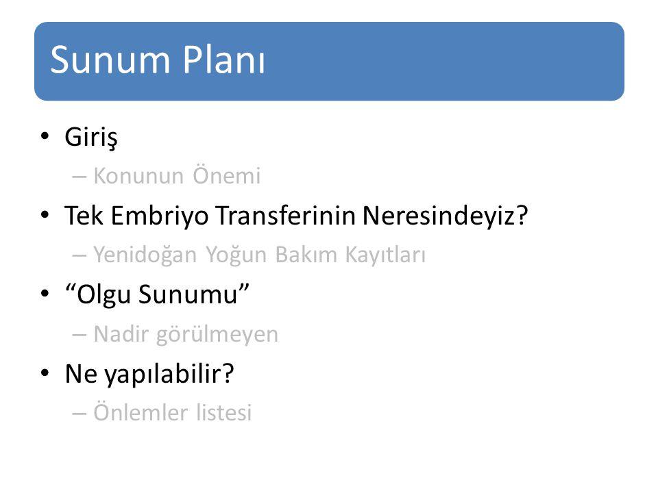 """Sunum Planı Giriş – Konunun Önemi Tek Embriyo Transferinin Neresindeyiz? – Yenidoğan Yoğun Bakım Kayıtları """"Olgu Sunumu"""" – Nadir görülmeyen Ne yapılab"""