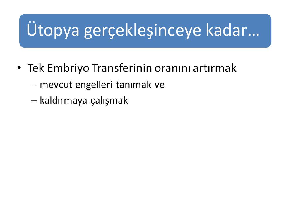 Tek Embriyo Transferinin oranını artırmak – mevcut engelleri tanımak ve – kaldırmaya çalışmak Ütopya gerçekleşinceye kadar…