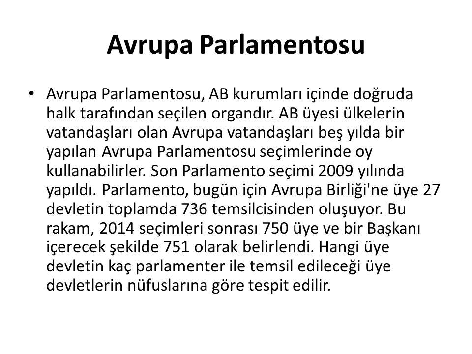 Avrupa Parlamentosu Avrupa Parlamentosu, AB kurumları içinde doğruda halk tarafından seçilen organdır. AB üyesi ülkelerin vatandaşları olan Avrupa vat