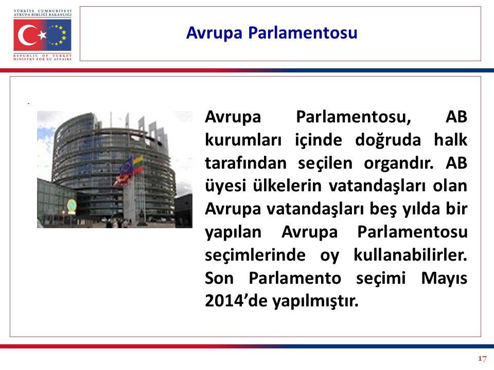 17 Avrupa Parlamentosu Avrupa Parlamentosu, AB kurumları içinde doğruda halk tarafından seçilen organdır. AB üyesi ülkelerin vatandaşları olan Avrupa