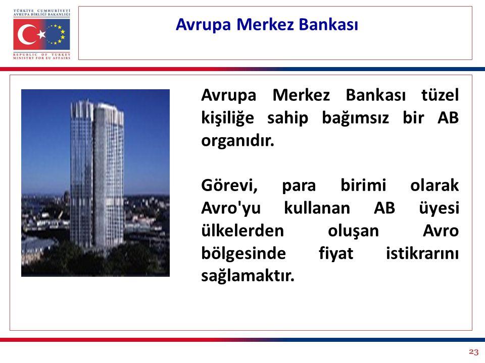 23 Avrupa Merkez Bankası Avrupa Merkez Bankası tüzel kişiliğe sahip bağımsız bir AB organıdır. Görevi, para birimi olarak Avro'yu kullanan AB üyesi ül