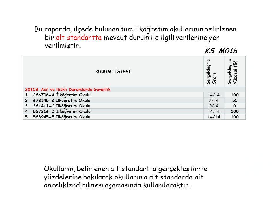 Alt Standart Bazında Mevcut Durumu Karşılama Yüzdelerine Göre Okulların Dağılımı- ilçe (KS_M02b)