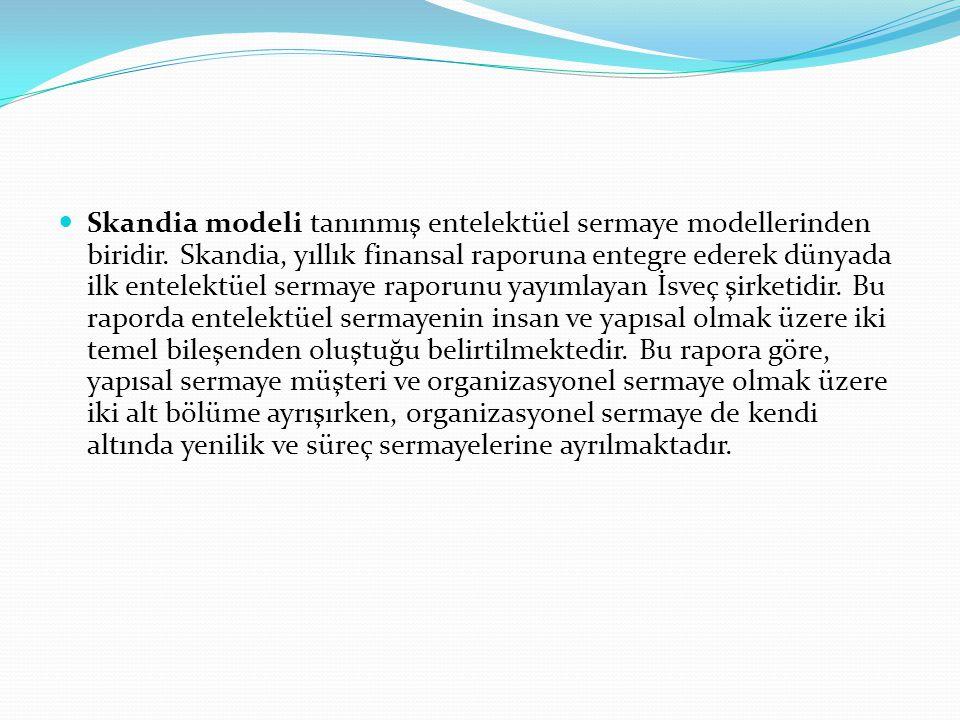 Skandia modeli tanınmış entelektüel sermaye modellerinden biridir. Skandia, yıllık finansal raporuna entegre ederek dünyada ilk entelektüel sermaye ra