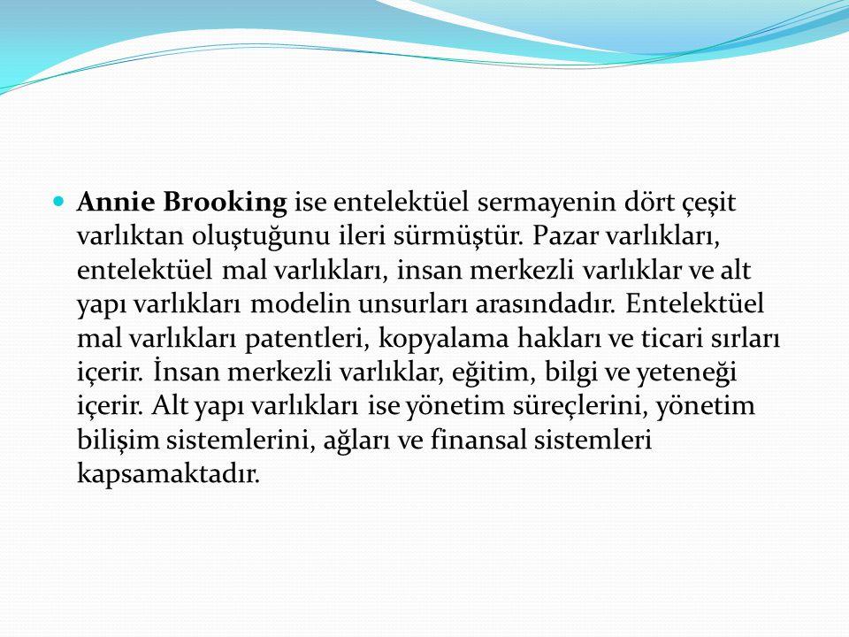Annie Brooking ise entelektüel sermayenin dört çeşit varlıktan oluştuğunu ileri sürmüştür. Pazar varlıkları, entelektüel mal varlıkları, insan merkezl