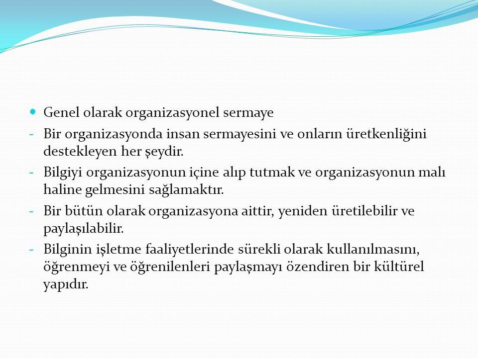 Genel olarak organizasyonel sermaye - Bir organizasyonda insan sermayesini ve onların üretkenliğini destekleyen her şeydir. - Bilgiyi organizasyonun i