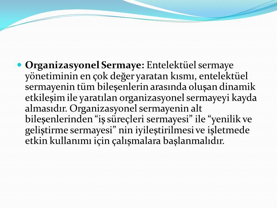Organizasyonel Sermaye: Entelektüel sermaye yönetiminin en çok değer yaratan kısmı, entelektüel sermayenin tüm bileşenlerin arasında oluşan dinamik et