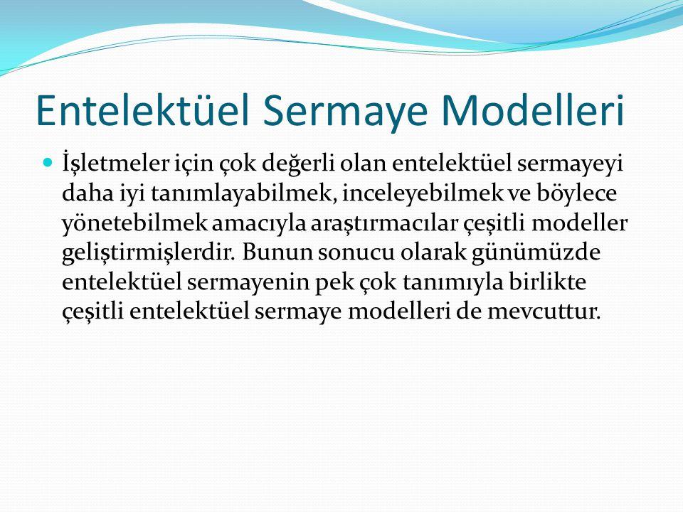 Entelektüel Sermaye Modelleri İşletmeler için çok değerli olan entelektüel sermayeyi daha iyi tanımlayabilmek, inceleyebilmek ve böylece yönetebilmek