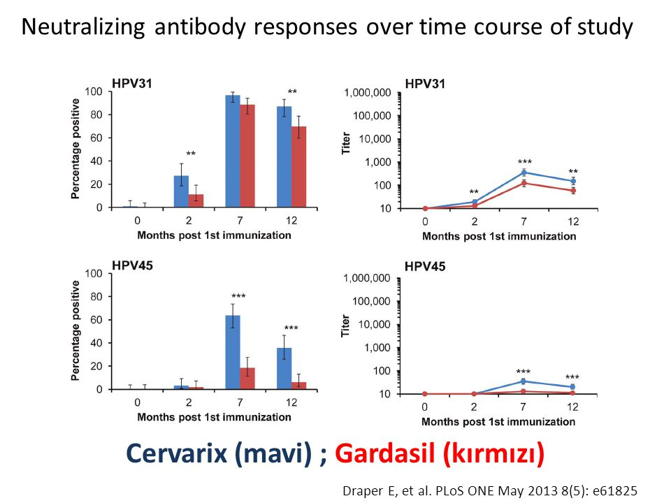 Neutralizing antibody responses over time course of study Cervarix (mavi) ; Gardasil (kırmızı) Draper E, et al. PLoS ONE May 2013 8(5): e61825