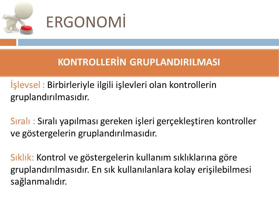 ERGONOMİ İşlevsel : Birbirleriyle ilgili işlevleri olan kontrollerin gruplandırılmasıdır. Sıralı : Sıralı yapılması gereken işleri gerçekleştiren kont