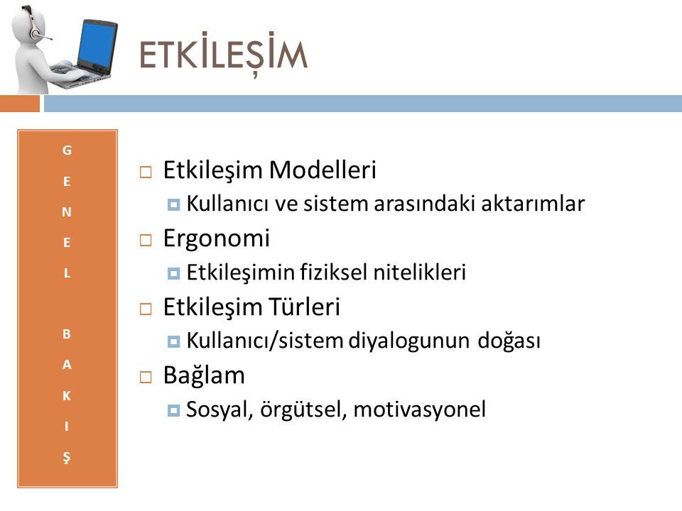 ETK İ LEŞ İ M GENELBAKIŞGENELBAKIŞ  Etkileşim Modelleri  Kullanıcı ve sistem arasındaki aktarımlar  Ergonomi  Etkileşimin fiziksel nitelikleri  E
