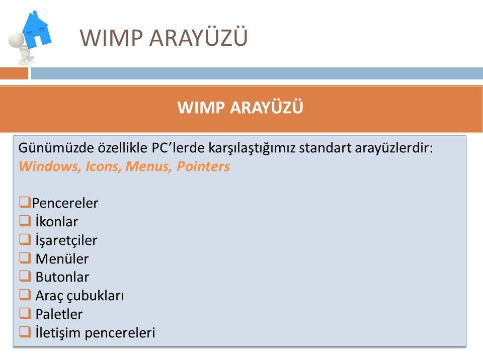 WIMP ARAYÜZÜ Günümüzde özellikle PC'lerde karşılaştığımız standart arayüzlerdir: Windows, Icons, Menus, Pointers  Pencereler  İkonlar  İşaretçiler