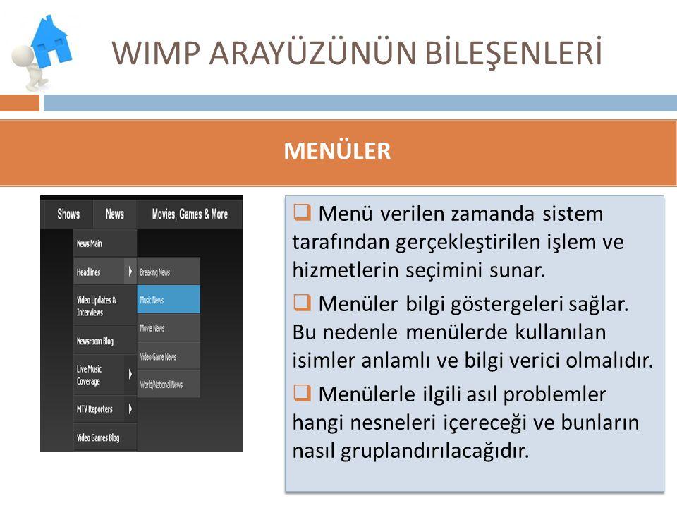 WIMP ARAYÜZÜNÜN BİLEŞENLERİ  Menü verilen zamanda sistem tarafından gerçekleştirilen işlem ve hizmetlerin seçimini sunar.  Menüler bilgi göstergeler