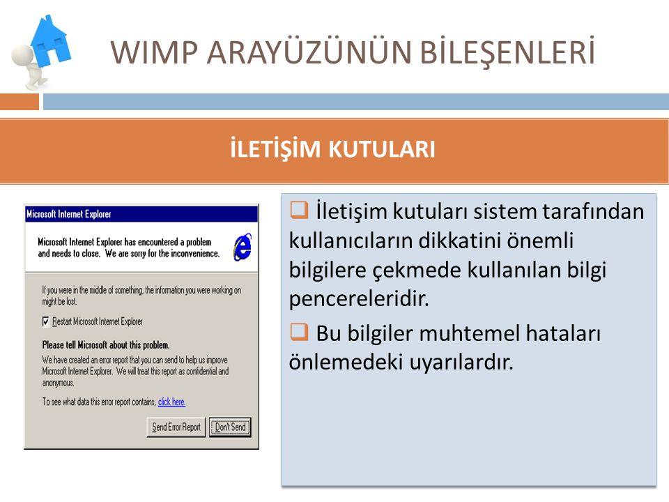 WIMP ARAYÜZÜNÜN BİLEŞENLERİ  İletişim kutuları sistem tarafından kullanıcıların dikkatini önemli bilgilere çekmede kullanılan bilgi pencereleridir. 