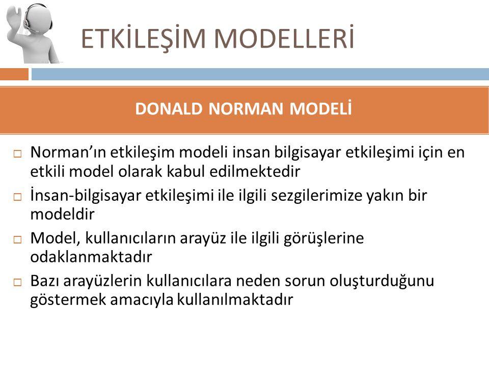 ETKİLEŞİM MODELLERİ DONALD NORMAN MODELİ  Norman'ın etkileşim modeli insan bilgisayar etkileşimi için en etkili model olarak kabul edilmektedir  İns