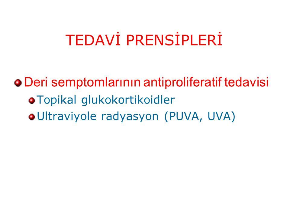 TEDAVİ PRENSİPLERİ Deri semptomlarının antiproliferatif tedavisi Topikal glukokortikoidler Ultraviyole radyasyon (PUVA, UVA)