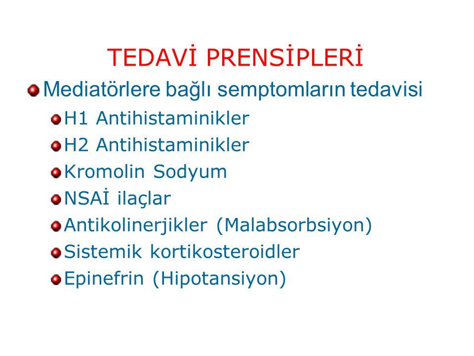 TEDAVİ PRENSİPLERİ Mediatörlere bağlı semptomların tedavisi H1 Antihistaminikler H2 Antihistaminikler Kromolin Sodyum NSAİ ilaçlar Antikolinerjikler (Malabsorbsiyon) Sistemik kortikosteroidler Epinefrin (Hipotansiyon)