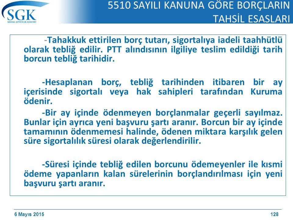 6 Mayıs 2015 5510 SAYILI KANUNA GÖRE BORÇLARIN TAHSİL ESASLARI -Tahakkuk ettirilen borç tutarı, sigortalıya iadeli taahhütlü olarak tebliğ edilir.