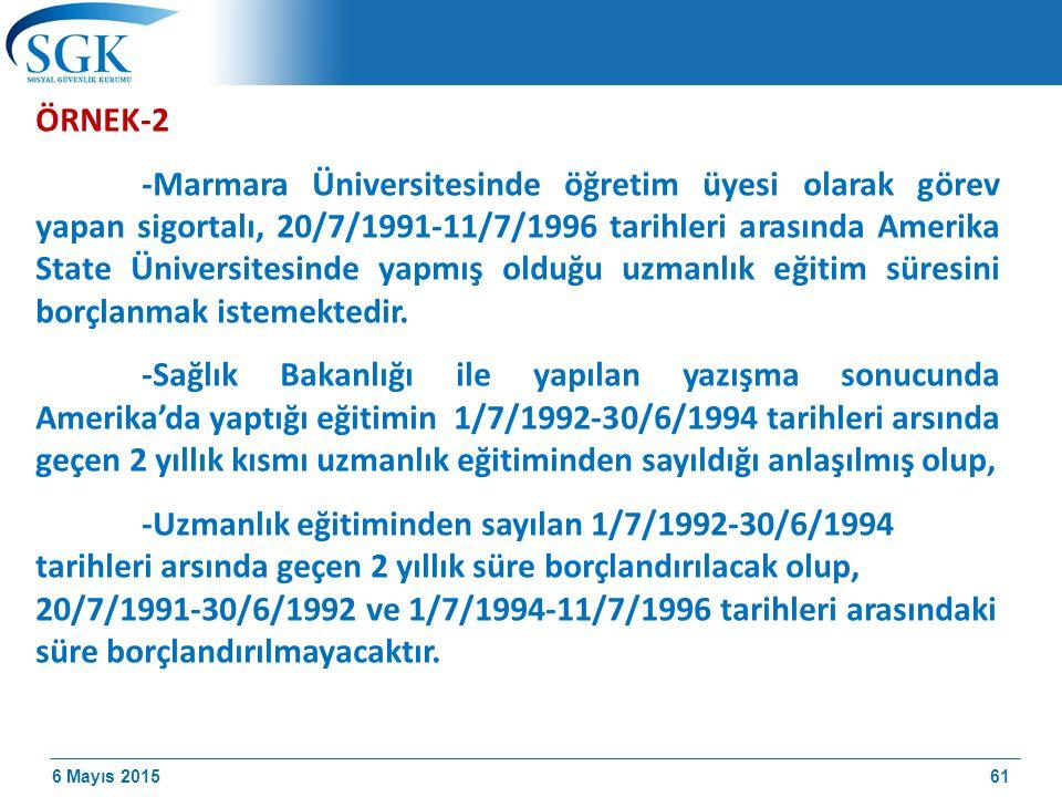 6 Mayıs 2015 ÖRNEK-2 -Marmara Üniversitesinde öğretim üyesi olarak görev yapan sigortalı, 20/7/1991-11/7/1996 tarihleri arasında Amerika State Üniversitesinde yapmış olduğu uzmanlık eğitim süresini borçlanmak istemektedir.