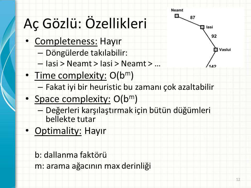 12 Aç Gözlü: Özellikleri Completeness: Hayır – Döngülerde takılabilir: – Iasi > Neamt > Iasi > Neamt > … Time complexity: O(b m ) – Fakat iyi bir heur