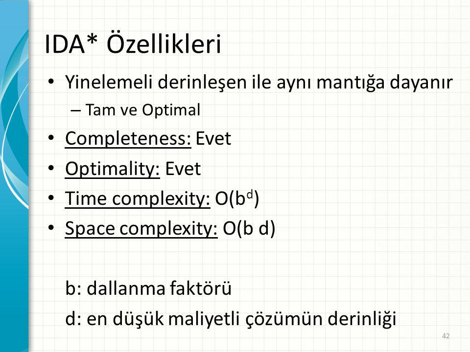 42 IDA* Özellikleri Yinelemeli derinleşen ile aynı mantığa dayanır – Tam ve Optimal Completeness: Evet Optimality: Evet Time complexity: O(b d ) Space