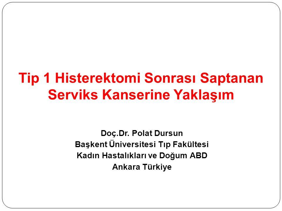 Tip 1 Histerektomi Sonrası Saptanan Serviks Kanserine Yaklaşım Doç.Dr. Polat Dursun Başkent Üniversitesi Tıp Fakültesi Kadın Hastalıkları ve Doğum ABD