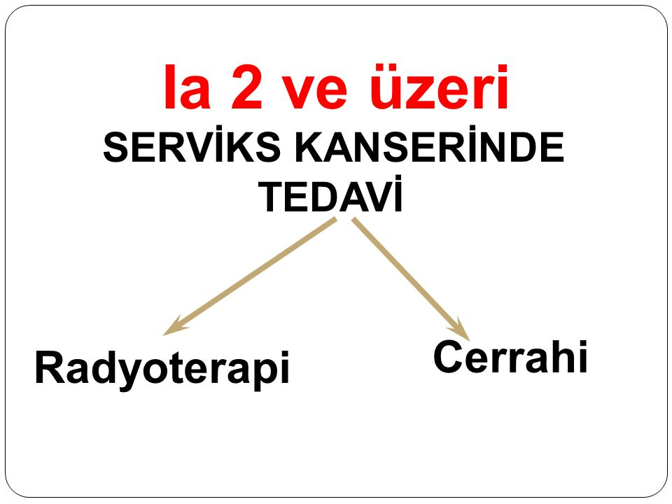 Ia 2 ve üzeri SERVİKS KANSERİNDE TEDAVİ Radyoterapi Cerrahi