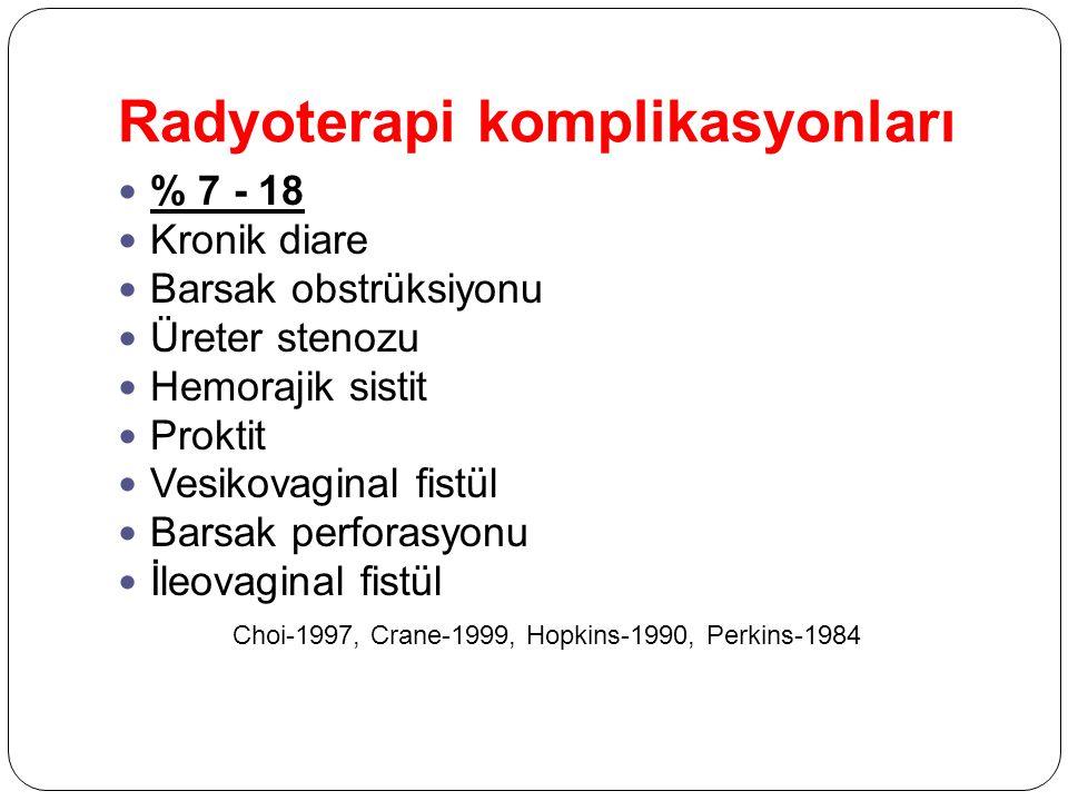 Radyoterapi komplikasyonları % 7 - 18 Kronik diare Barsak obstrüksiyonu Üreter stenozu Hemorajik sistit Proktit Vesikovaginal fistül Barsak perforasyo