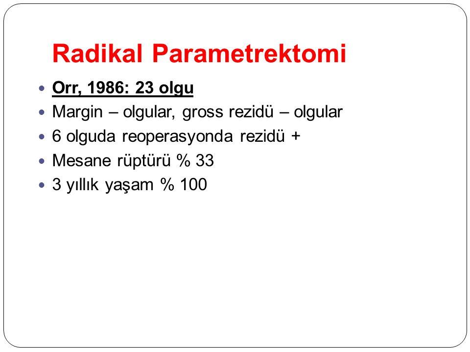 Radikal Parametrektomi Orr, 1986: 23 olgu Margin – olgular, gross rezidü – olgular 6 olguda reoperasyonda rezidü + Mesane rüptürü % 33 3 yıllık yaşam