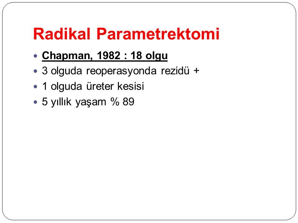 Radikal Parametrektomi Chapman, 1982 : 18 olgu 3 olguda reoperasyonda rezidü + 1 olguda üreter kesisi 5 yıllık yaşam % 89