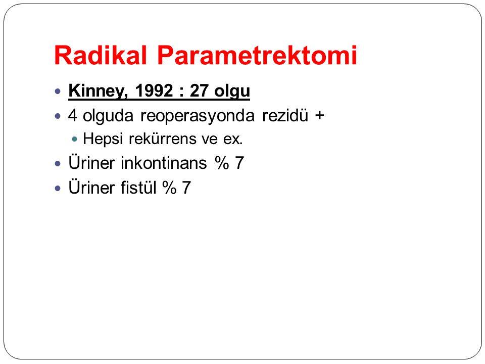Radikal Parametrektomi Kinney, 1992 : 27 olgu 4 olguda reoperasyonda rezidü + Hepsi rekürrens ve ex. Üriner inkontinans % 7 Üriner fistül % 7