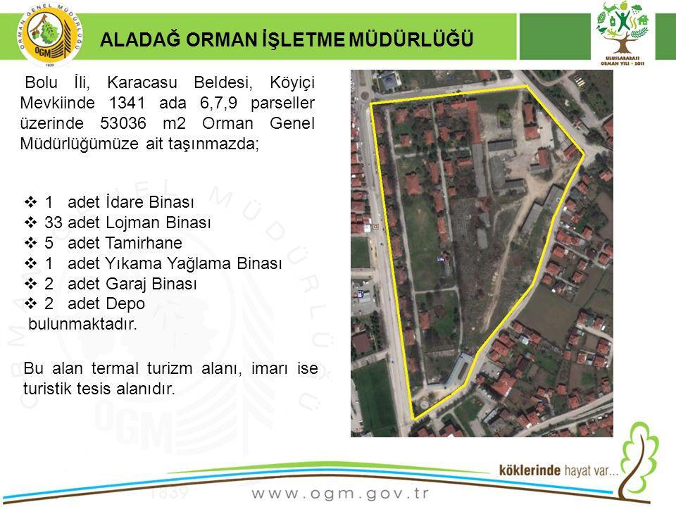 16/12/2010 Kurumsal Kimlik 4 ALADAĞ ORMAN İŞLETME MÜDÜRLÜĞÜ  1 adet İdare Binası  33 adet Lojman Binası  5 adet Tamirhane  1 adet Yıkama Yağlama B