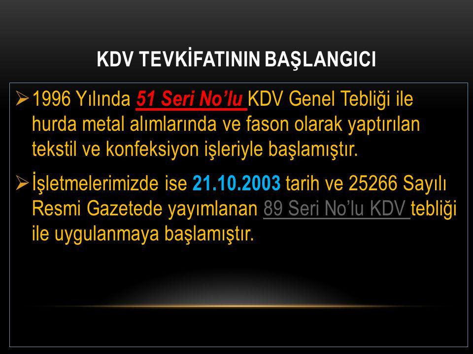 KDV TEVKİFATININ BAŞLANGICI  1996 Yılında 51 Seri No'lu KDV Genel Tebliği ile hurda metal alımlarında ve fason olarak yaptırılan tekstil ve konfeksiy