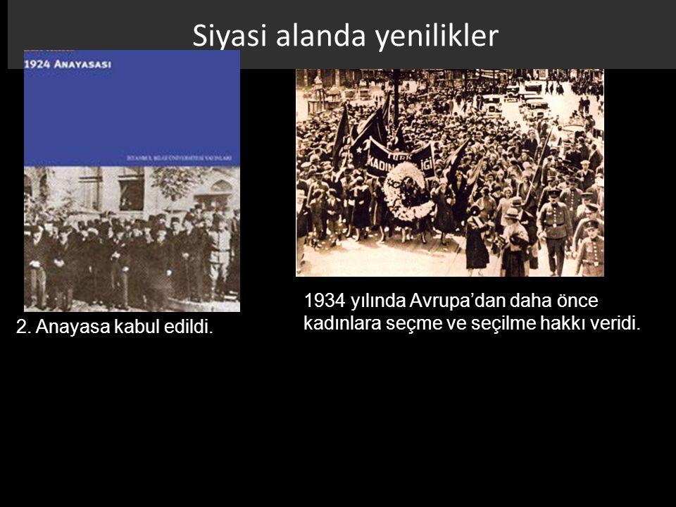 Siyasi alanda yenilikler 1934 yılında Avrupa'dan daha önce kadınlara seçme ve seçilme hakkı veridi. 2. Anayasa kabul edildi.