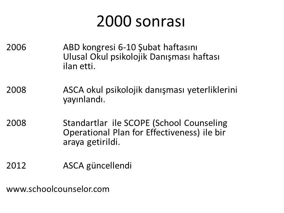 2000 sonrası 2006 ABD kongresi 6-10 Şubat haftasını Ulusal Okul psikolojik Danışması haftası ilan etti. 2008 ASCA okul psikolojik danışması yeterlikle