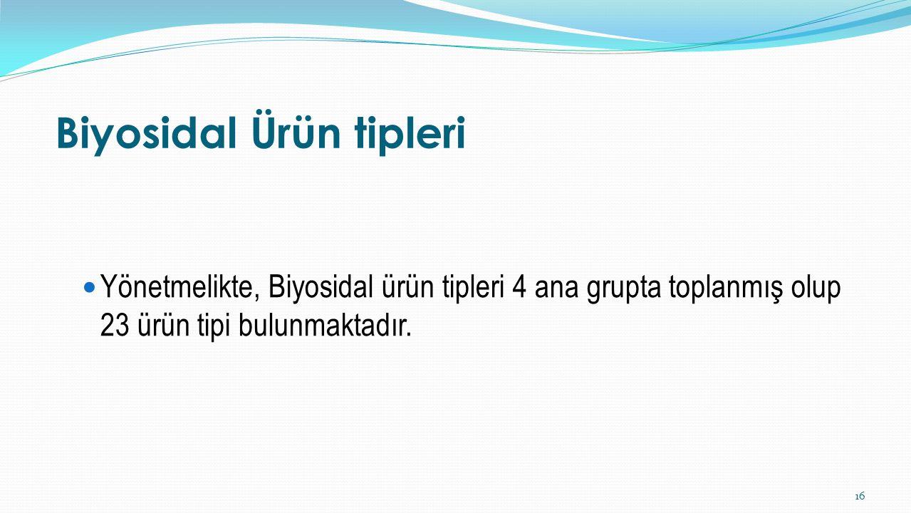 Biyosidal Ürün tipleri Yönetmelikte, Biyosidal ürün tipleri 4 ana grupta toplanmış olup 23 ürün tipi bulunmaktadır. 16