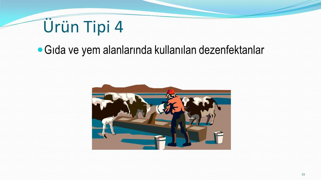 Ürün Tipi 4 Gıda ve yem alanlarında kullanılan dezenfektanlar 21