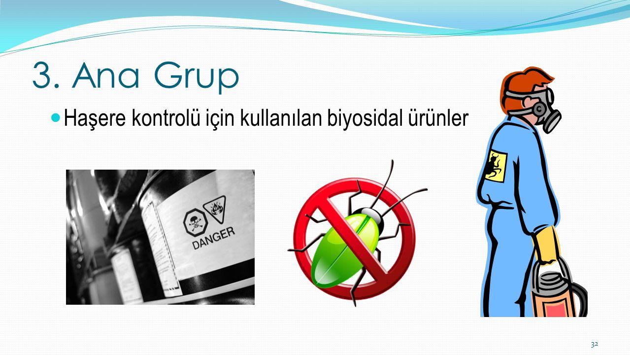 3. Ana Grup 32 Haşere kontrolü için kullanılan biyosidal ürünler