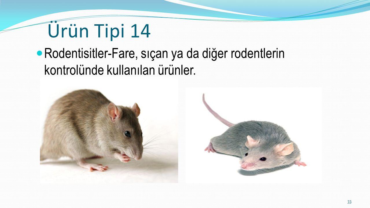 Ürün Tipi 14 Rodentisitler-Fare, sıçan ya da diğer rodentlerin kontrolünde kullanılan ürünler. 33