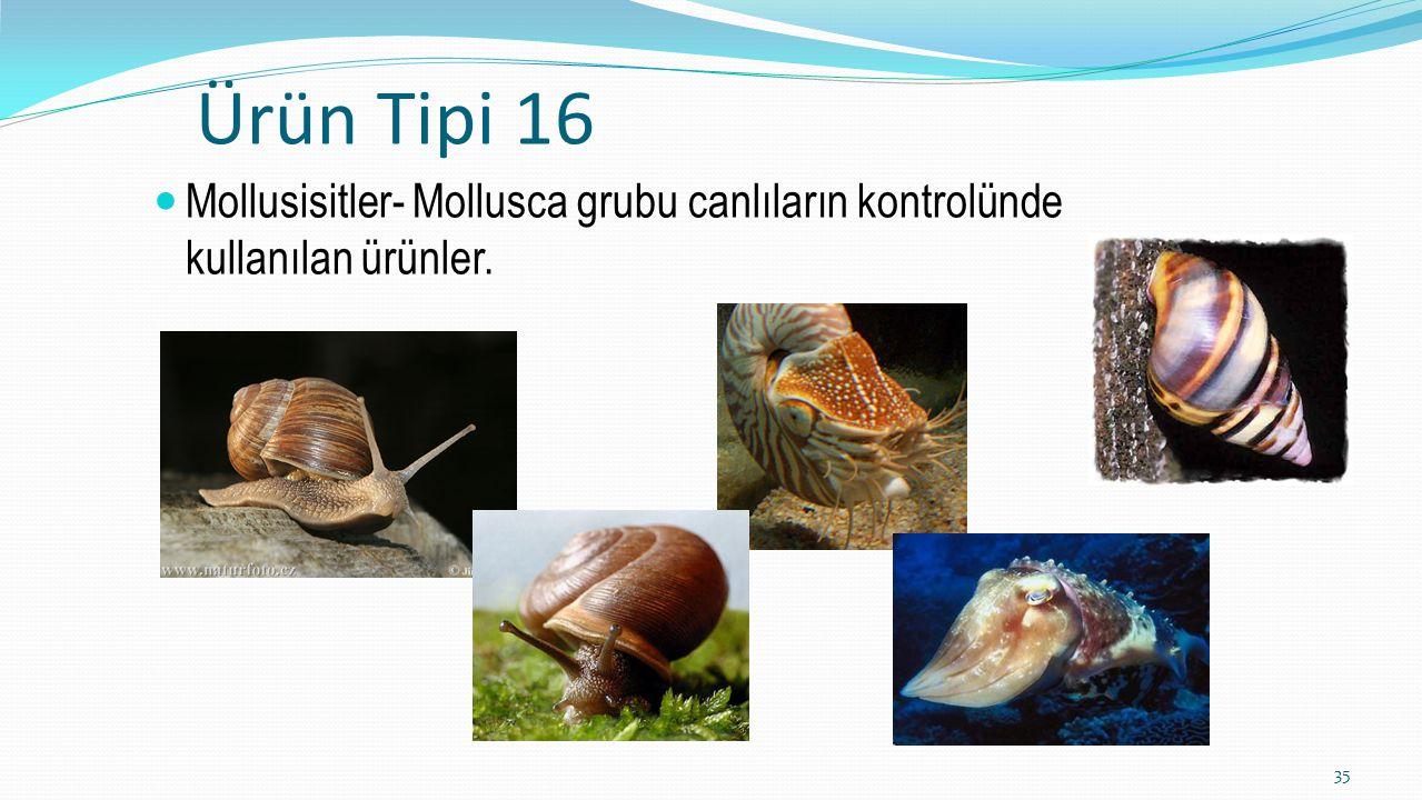 Ürün Tipi 16 Mollusisitler- Mollusca grubu canlıların kontrolünde kullanılan ürünler. 35