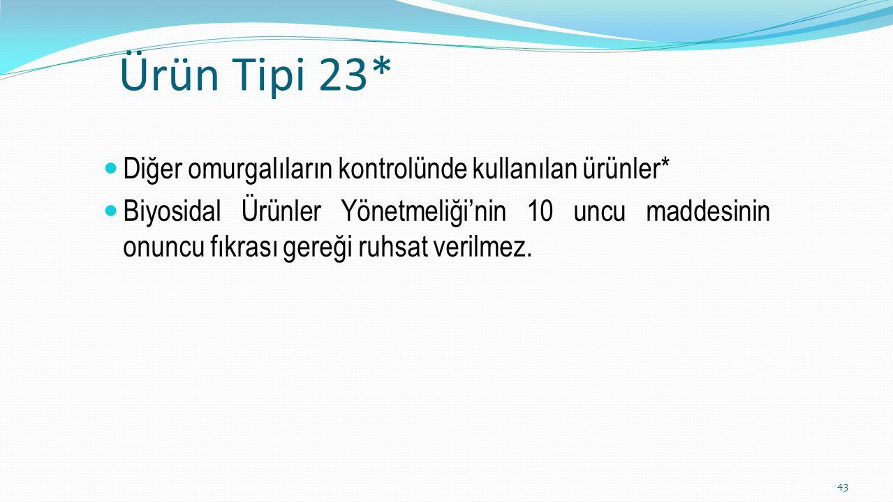Ürün Tipi 23* Diğer omurgalıların kontrolünde kullanılan ürünler* Biyosidal Ürünler Yönetmeliği'nin 10 uncu maddesinin onuncu fıkrası gereği ruhsat ve