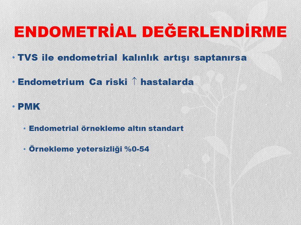 ENDOMETRİAL DEĞERLENDİRME TVS ile endometrial kalınlık artışı saptanırsa Endometrium Ca riski  hastalarda PMK Endometrial örnekleme altın standart Ör