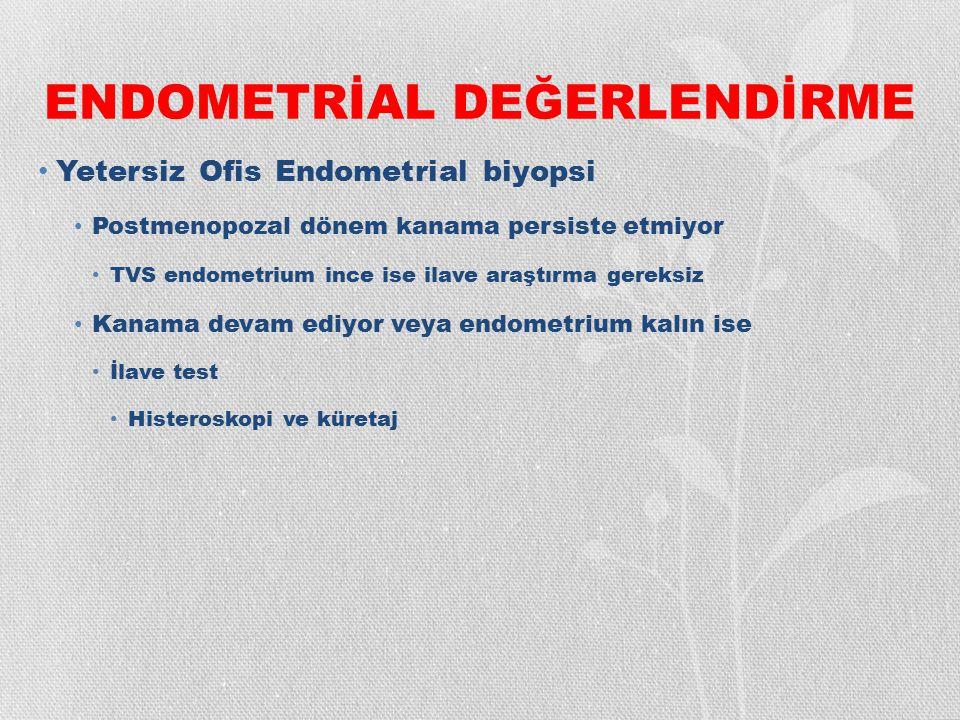 ENDOMETRİAL DEĞERLENDİRME Yetersiz Ofis Endometrial biyopsi Postmenopozal dönem kanama persiste etmiyor TVS endometrium ince ise ilave araştırma gerek