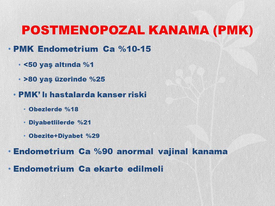 POSTMENOPOZAL KANAMA (PMK) PMK Endometrium Ca %10-15 <50 yaş altında %1 >80 yaş üzerinde %25 PMK' lı hastalarda kanser riski Obezlerde %18 Diyabetlile
