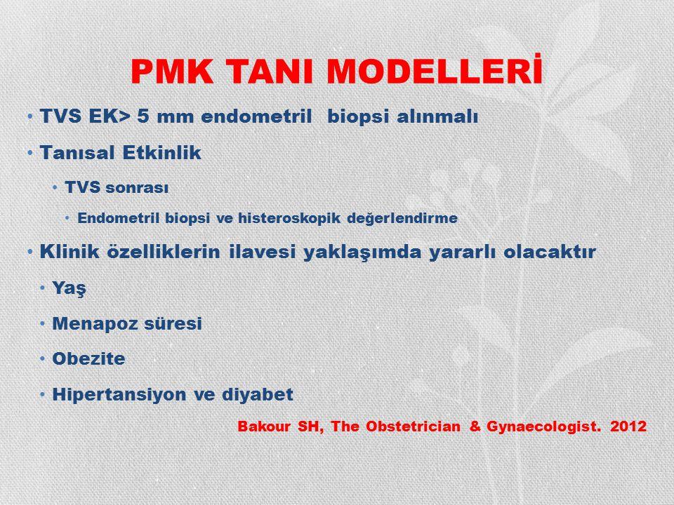 PMK TANI MODELLERİ TVS EK> 5 mm endometril biopsi alınmalı Tanısal Etkinlik TVS sonrası Endometril biopsi ve histeroskopik değerlendirme Klinik özelli