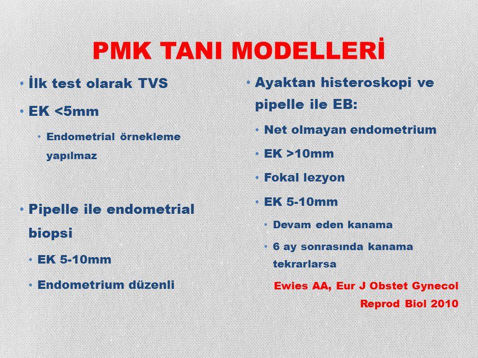 PMK TANI MODELLERİ İlk test olarak TVS EK <5mm Endometrial örnekleme yapılmaz Pipelle ile endometrial biopsi EK 5-10mm Endometrium düzenli Ayaktan his